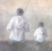 Father And Son Fishing Print by Alan Daysh