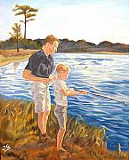 Son Paintings - Father and son by Jana Goode