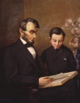 Abraham Lincoln Prints - Father and Son Print by Lewis A Ramsey