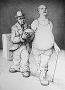Heavyweight Drawings - Father and Son by Louis Gleason