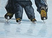 Ice Skates Paintings - Father and Son Skate Day by Betty-Anne McDonald