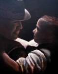 Family Love Paintings - Father and Son by Wendie Thompson