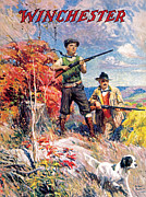 Hunting Prints - Father And Son With Bird Dog Print by Arthur S Fulton
