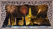 Pyrotechnics Originals - Father celebrate in Wat Phra Kaew  by Anek Suwannaphoom