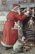 Santa Painting Metal Prints - Father Christmas Metal Print by Karl Roger