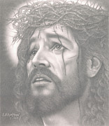 Jesus Drawings Framed Prints - Father forgive them Framed Print by Eduard  Brinkman