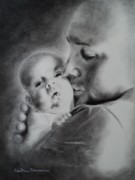 Father Drawings Prints - Father n Son Print by Carla Carson