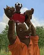 Soccer Ball Posters - father Rhino with son Poster by Martin Davey
