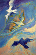 Religious Art Painting Posters - Father Son and Holy Spirit Poster by Jill Iversen