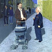 Baby Carriage Paintings - Fatherly Advice by Peter Worsley