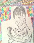 Fathers Pastels - Fathers Love  Me and My Son  OJASTH by Sudheer Raju