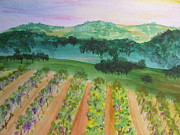 Winery Paintings - Fathers Vineyard by Wendy Smith