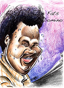 Big Mike Roate Drawings Framed Prints - fats Domino Framed Print by Big Mike Roate