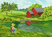 Barn Painter Posters - Favorite Fishing Hole Poster by Charlotte Blanchard