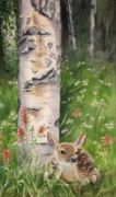 Woods Painting Originals - Fawn in Woods by Patricia Pushaw
