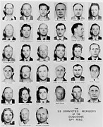 Espionage Posters - Fbi Mug Shots Of Thirty-three Convicted Poster by Everett