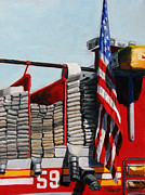 Harlem Paintings - FDNY ENGINE 59 American Flag by Paul Walsh
