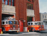 Ladder Paintings - FDNY Engine 88 and Ladder 38 by Paul Walsh