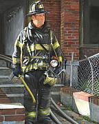 Fireman Paintings - Fdny Squad 41 Firefighter by Paul Walsh