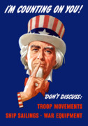 Franklin Digital Art Metal Prints - FDR As Uncle Sam Metal Print by War Is Hell Store