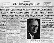 Washington Post Framed Prints - Fdr: Reelection, 1936 Framed Print by Granger
