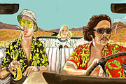 Illustrations Mixed Media Posters - Fear And Loathing Poster by Johnee Fullerton
