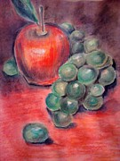 Grape Drawings Metal Prints - Feast on Fruit Metal Print by Paula Johnson