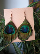 Gold Earrings Jewelry Posters - Feather Earrings Poster by Beth Sebring