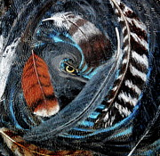 Red Tail Hawk Paintings - Feather Fall by Karen Giles
