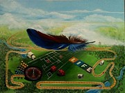 Surrealism Paintings - Feather in the Wind by Beth Smith