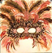 Mardi Gras Paintings - Feather Mask-Brown by Marie Bulger