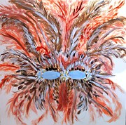 Mardi Gras Paintings - Feather Mask by Marie Bulger