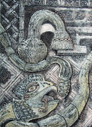 Ruins Mixed Media Originals - Feathered Serpent 1 by Pamela Iris Harden