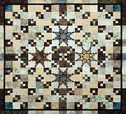 Patchwork Quilt Tapestries - Textiles Posters - Feathered Star Poster by Patty Caldwell