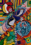 Tribes Paintings - Feathered Tribes by Karen Merry