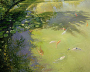 Ponds Painting Metal Prints - Featherplay Metal Print by Timothy Easton