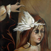 Clock Paintings - Feathers on Broken Girl by Jacque Hudson-Roate