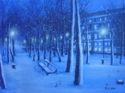 Winter Storm Painting Prints - Febuary Print by Ksusha Scott