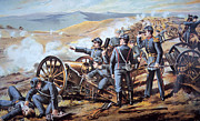 Shells Paintings - Federal field artillery in action during the American Civil War  by American School