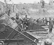 American Civil War Photos - Federal Siege Guns Yorktown Virginia during the American Civil War by Mathew Brady