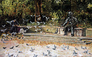 Statue Pastels Prints - Feed the Birds Central Park Print by Barry Rothstein