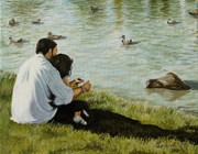 Family Love Paintings - Feeding ducks with my Daddy by Al  Molina