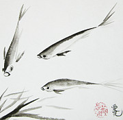 Inkwash Framed Prints - Feeding Frenzy Framed Print by Oiyee  At Oystudio