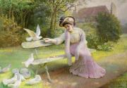 Pink Dress Posters - Feeding the Doves  Poster by Edmond Alphonse Defonte