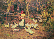 Bonnet Prints - Feeding the Ducks Print by Joseph Harold Swanwick