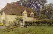 Cottages Framed Prints - Feeding the Fowls Framed Print by Helen Allingham