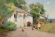 Country Cottage Prints - Feeding the Hens Print by Arthur Claude Strachan