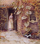 Cottages Framed Prints - Feeding the Kitten Framed Print by Helen Allingham