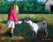 Rustic Pastels - Feeding The Pet Goat by Joyce Geleynse