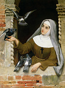 Alone Paintings - Feeding the Pigeons by Eugen von Blaas